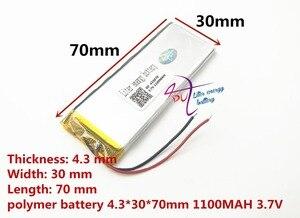 Image 3 - أفضل بطارية العلامة التجارية 3.7 V بطارية ليثيوم بوليمر 433070 403070 1100 mAH