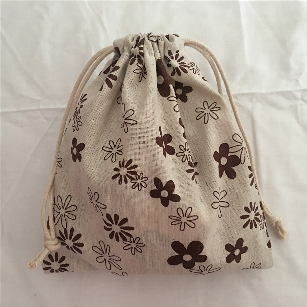 YILE 1pc Brown Sunflower Cotton Drawstring Bag Multi-purpose Organizer Pouch Party Gift Bag 190111d