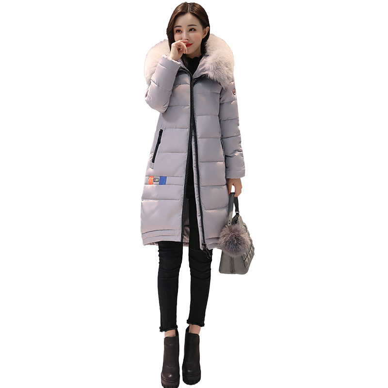 New 2017 winter Fashion Parkas Pattern Print Hooded Jacket Big Fur Collar Long Slim Casual Cotton Padded Coats Female Outwears qazxsw 2017 new winter cotton coats women long parkas hooded jacket slim thick padded big fur collar casual winter jacket hb355