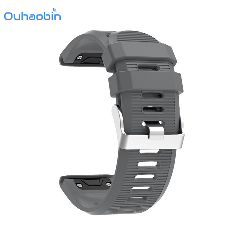 Ouhaobin 26mm Width Outdoor Sport watch band Easy Fit Silicone Strap Watchband for Garmin Silicone Band for Garmin Fenix 5X/3/3H