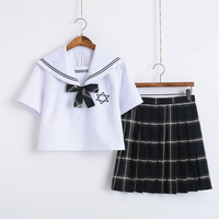 3Pcs Hexagonal Star Embroidery Japanese Girl School Uniforms Cute Sailor Tops Pleated Skirt Full Sets Cosplay JK Costume