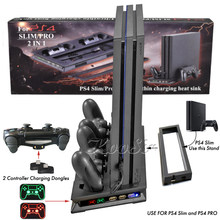 Ps4 pro fino suporte vertical controlador led carregador estação de carregamento ventilador refrigeração ps 4 acessórios para sony playstation 4 s