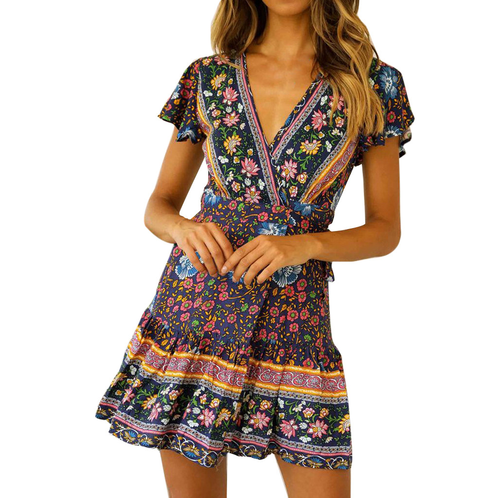 Feitong Vintage Womens Sexy Casual High Waist Dress Bohemia Ladies Print V Neck National Style Mini Dress vestidos verano 2020
