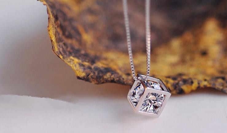 Chất Lượng Cao Pha Lê Sáng Bóng Vuông Mặt Dây Chuyền Nữ Bạc 925 Ladies'necklaces Nữ Ngắn Hộp Dây Chuyền Trang Sức Tặng Thả Vận Chuyển