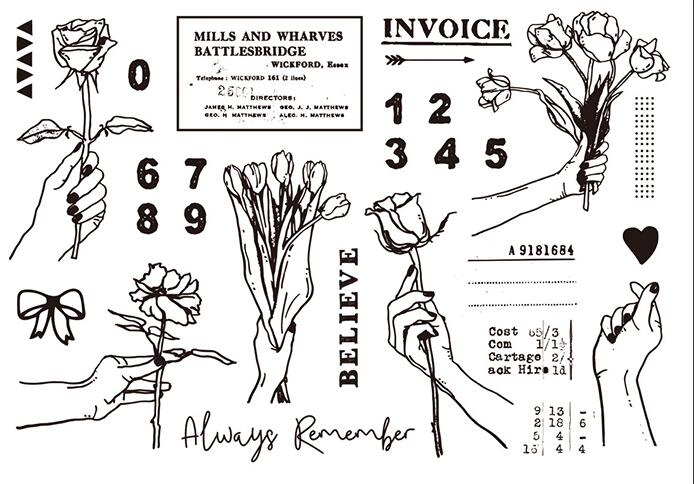 Gesture rose Clear Stamp for Scrapbooking Transparent