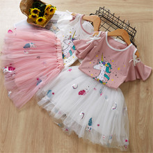 Girls Clothing Sets Cute Girl Princess Unicorn T- Shirt+Gauze Mesh Tutu Skirt 2019 Summer Two Pieces Kids Children Clothes Suits