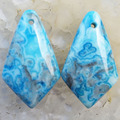 (Min. Order is $10) 2Pcs Blue Crazy Lace Agate Rhombus Pendant Bead 28x16x7mm L0118402