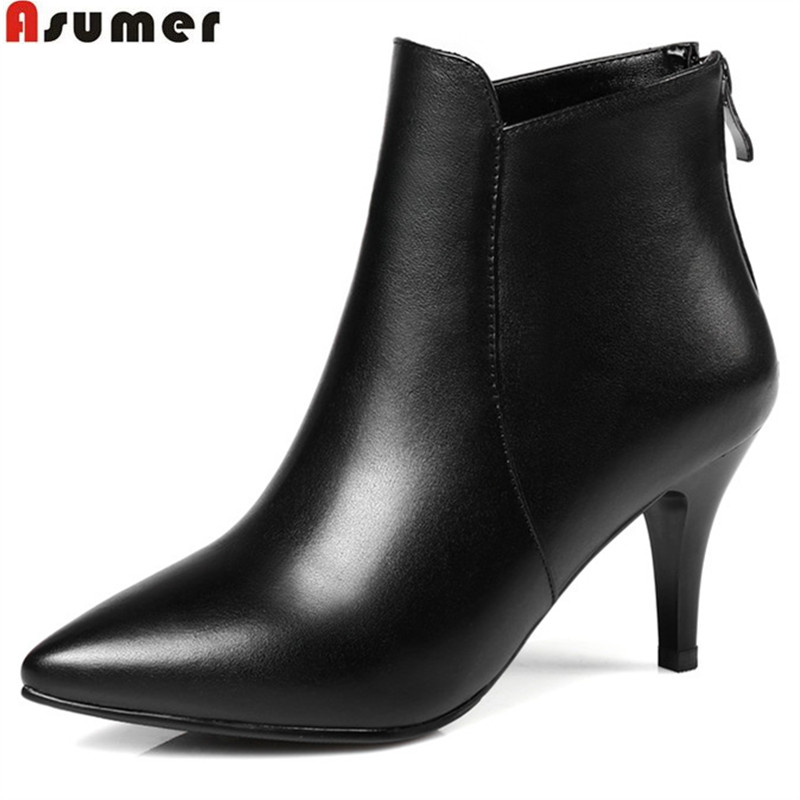 ASUMER fashion new arrive women boots pointed toe zipper genuine leather boots simple spike heels ankle boots plus size 32-45 asumer 2018 hot sale new arrive women boots fashion zipper black genuine leather pointed toe ladies boots simple mid calf boots