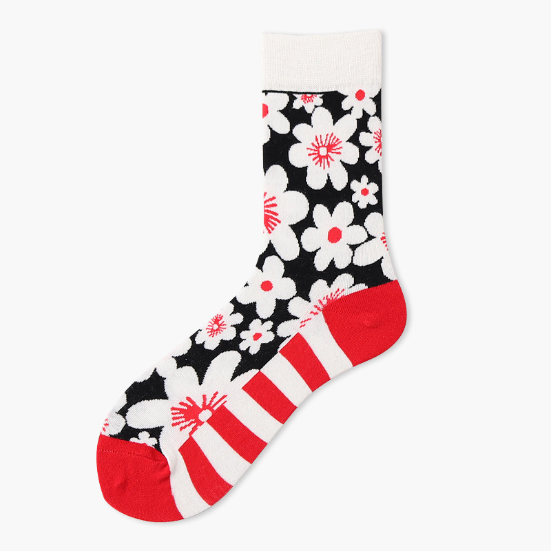 PEONFLY women fashion casual high-quality colorful socks Personality Pattern Printing Striped socks Compression Cotton socks