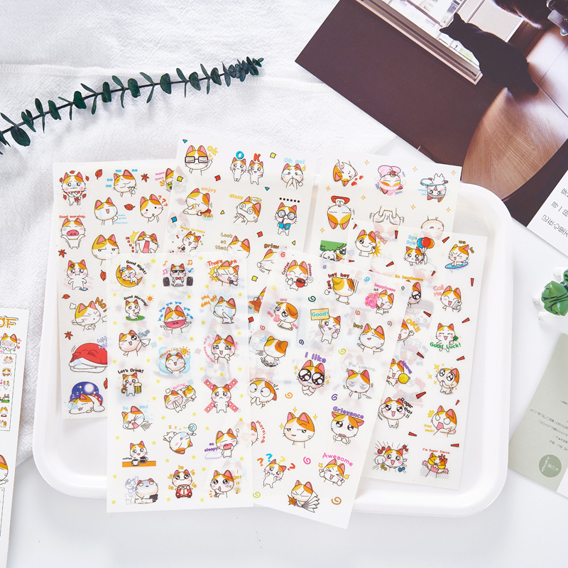 6 Pcs/pack Lovely Young Meow Cat Decorative Stationery Stickers Scrapbooking DIY Diary Album Stick Lable