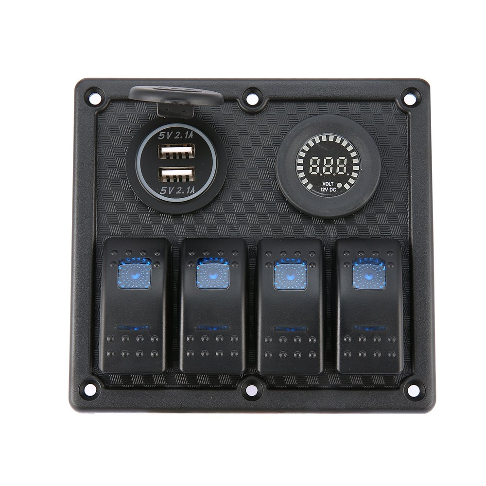 4 Gang Car Marine Boat LED Rocker Switch Panel Waterproof Circuit Breaker with Digital Voltmeter Dual USB Charger(China)