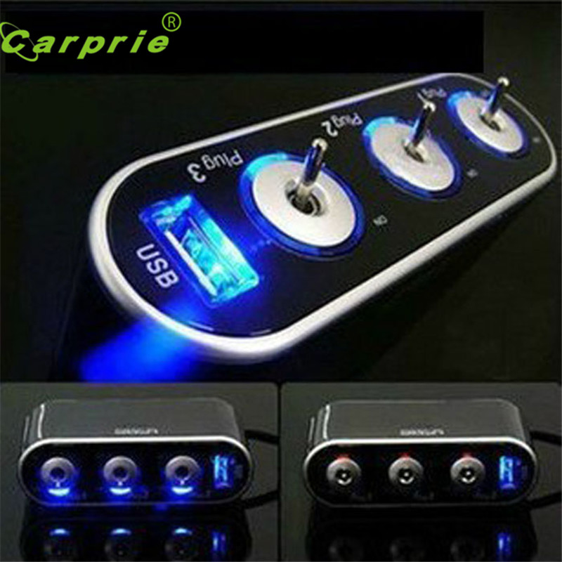 Auto car-styling car styling 3 Way Triple Car Cigarette Lighter Socket Splitter 12V/24V +USB+LED Light Switch Aux Auto стоимость
