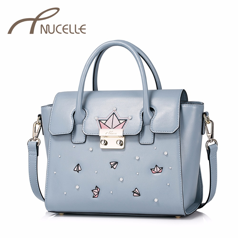 NUCELLE Women PU Leather Handbag Ladies Fashion Wings Messenger Tote Purse Female Leisure Embroidery Rivet Shoulder Bags NZ4998 just star women s pu leather handbag ladies cartoon cat embroidery tote shoulder purse female leisure messenger bags jz4492