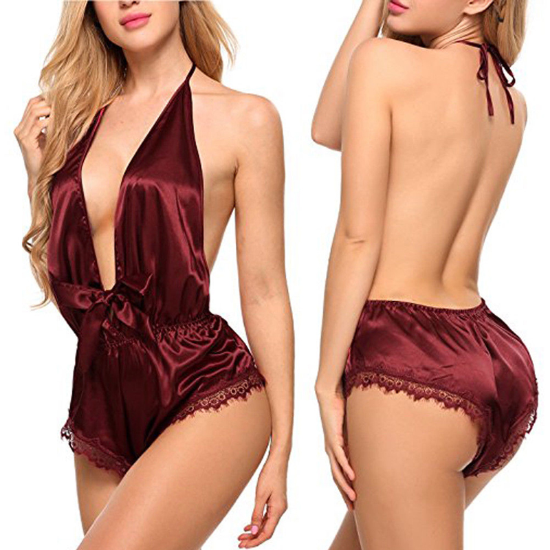 US STOCK Women's Lady Sexy  deep V-neck Lace Sleepwear Satin Nightwear Lingerie Pajamas Suit