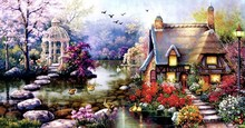 Diy Diamond painting cross stitch scenic crystal round diamond sets unfinish decorative full  embroidery landscape цена