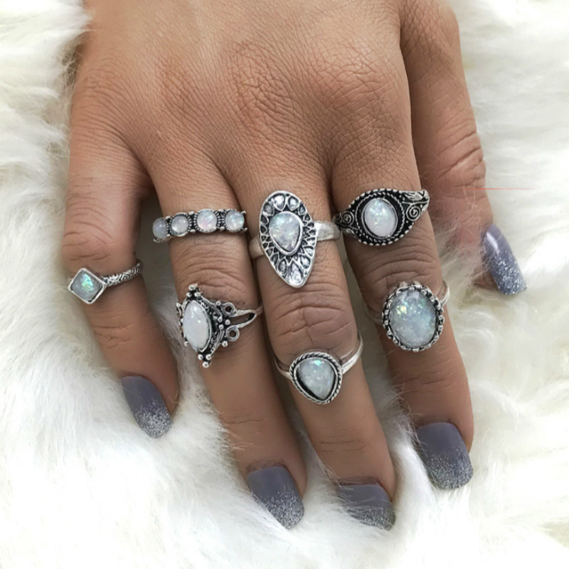 Vintage Acrylic Stones Midi Ring Set For Women Boho Antique Silver Color Water Drop Knuckle Rings Punk Jewelry Anillos Gift