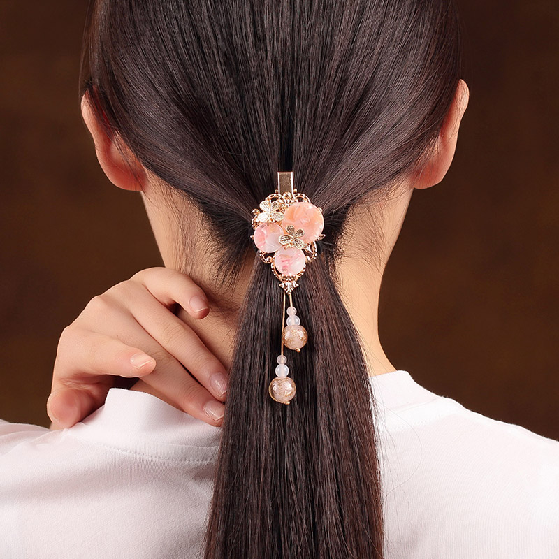 Elegant Pink Hairpin Headwear Vintage Handmade Barrettes Ancient Costume Accessory Hair Ornaments Chinese Ethnic HairClip