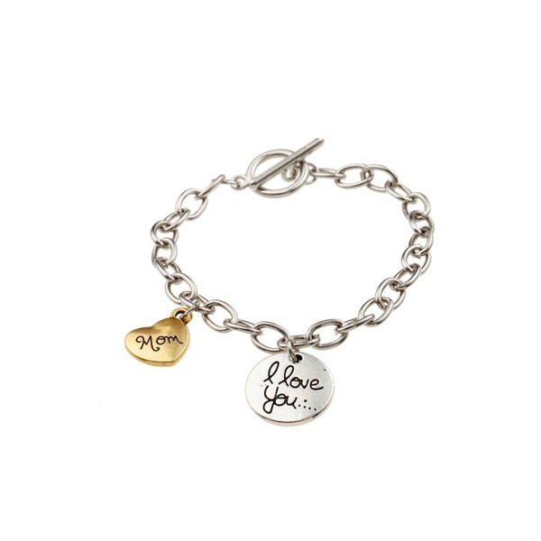 Custom Charm Bracelet Adjule I Love You With The Heart Pendant Gift Or Mom Day Bracelets For Women In Chain Link