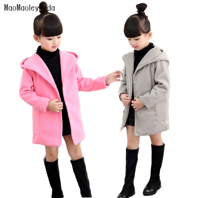 цена на Girls clothes Trench Coats Jackets For Clothing Tops Kids children's Windbreakers Spring jacket Autumn Outerwear wool dress coat