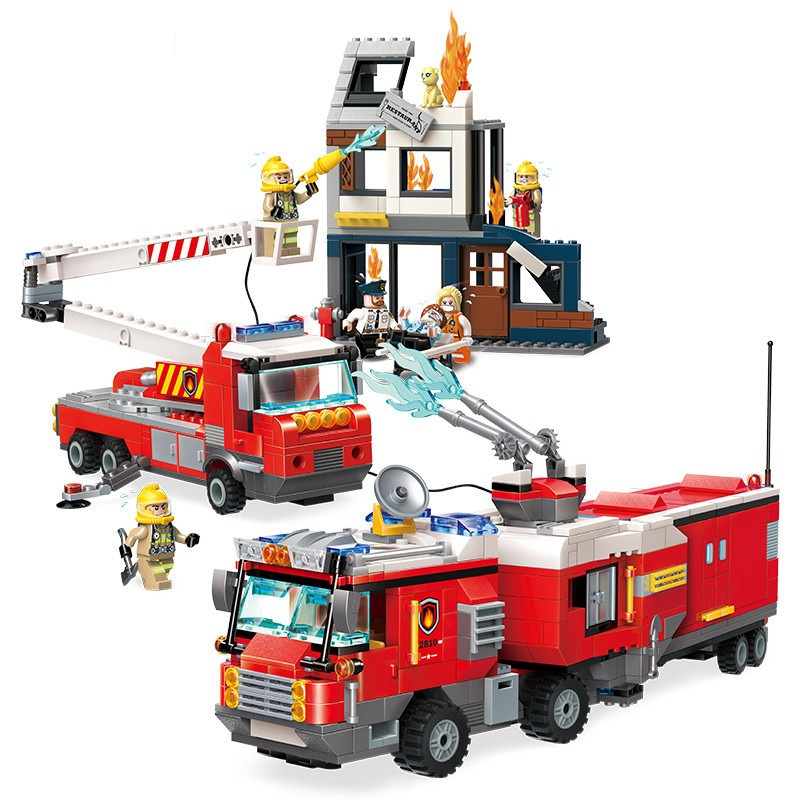 City Firefighting Rescue Operation Spray Water Truck Firemen Car Building Blocks Sets Bricks Model Kids Toys Compatible Legoings new city police fire station truck spray water gun firemen car building blocks sets bricks model kids toys compatible legoings