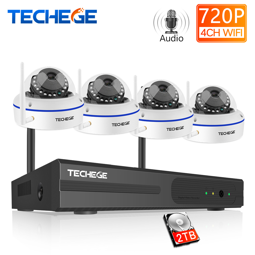 Techege 4CH Wireless NVR Kit 1MP Audio HD Camera System Vandalproof Outdoor WIFI Camera Surveillance Kit Night Vision APP RemoteTechege 4CH Wireless NVR Kit 1MP Audio HD Camera System Vandalproof Outdoor WIFI Camera Surveillance Kit Night Vision APP Remote