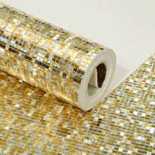 Golden silver plaid mosaic wallpaper Background wall reflective stereo waterproof PVC sticker decoration