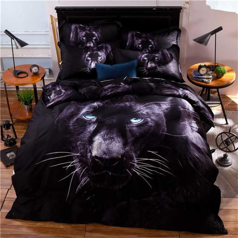 3D Animals Black Leopard Print Panther Bedding Set Queen Size Quility Pure  Cotton Bed Sheet Pillowcase Quilt Cover Bedroom Decor In Bedding Sets From  Home ...