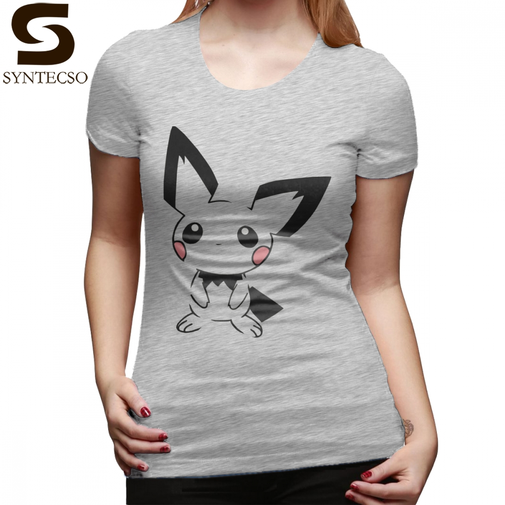 Pikachu T-Shirt Pichu T Shirt Navy 100 Cotton Women tshirt Pattern Short-Sleeve Street Style O Neck Trendy XXL Ladies Tee Shirt