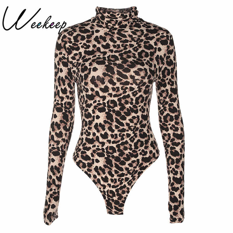 Weekeep Sexy Leopard Bodycon mujer mono cuello alto manga larga Mono corto Romper una pieza Femme Playsuit