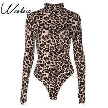 Weekeep Sexy Leopard Bodysuit Women Bodycon Turtleneck Bodysuits Long Sleeve Short Jumpsuits Romper One piece Femme Playsuit