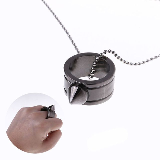 1pc tungsten Steel Self Defense Supplies Ring Women Men Safety Survival Finger Ring with Chain Tool