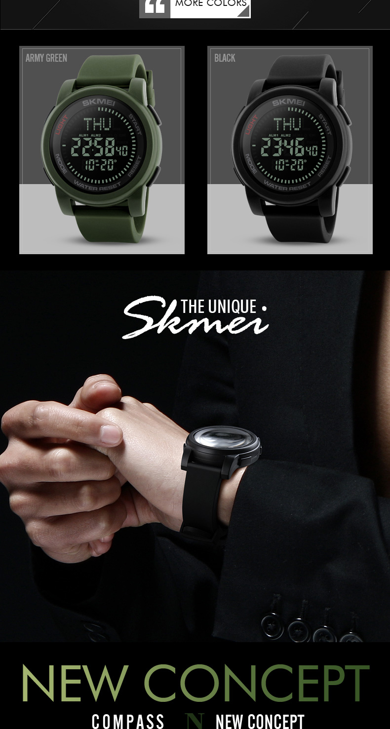 SKMEI 2019 Compass Men Sport Watch 50M Waterproof Man Outdoor Countdown Digital Watch electronic Watch For Men reloj hombre (2)