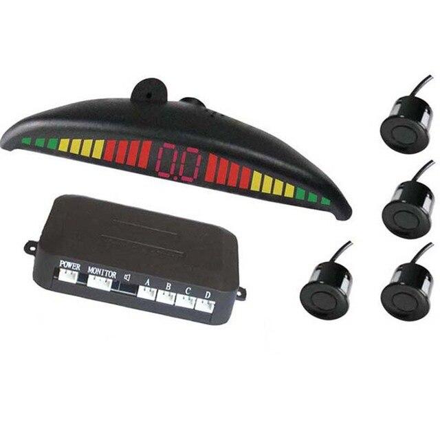 Бесплатная Доставка Датчик Парковки Автомобилей Резервного Обратный Радиолокатор Система Оповещения с 4 Датчиками, СВЕТОДИОДНЫЙ дисплей и Voice Reminder
