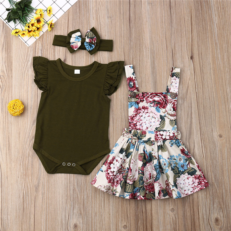 Newborn 3pcs Clothes Set Summer Fly Sleeve Baby Girls Romper Tops Tutu Skirt Headband Outfits Clothes Set Baby Clothing