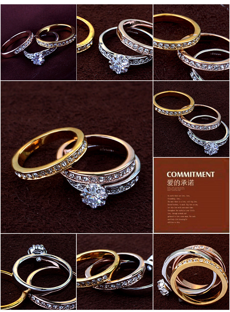 Trinity Gold Wedding Band Aliexpress Trustylan Anelli Diamanti Crystal Color