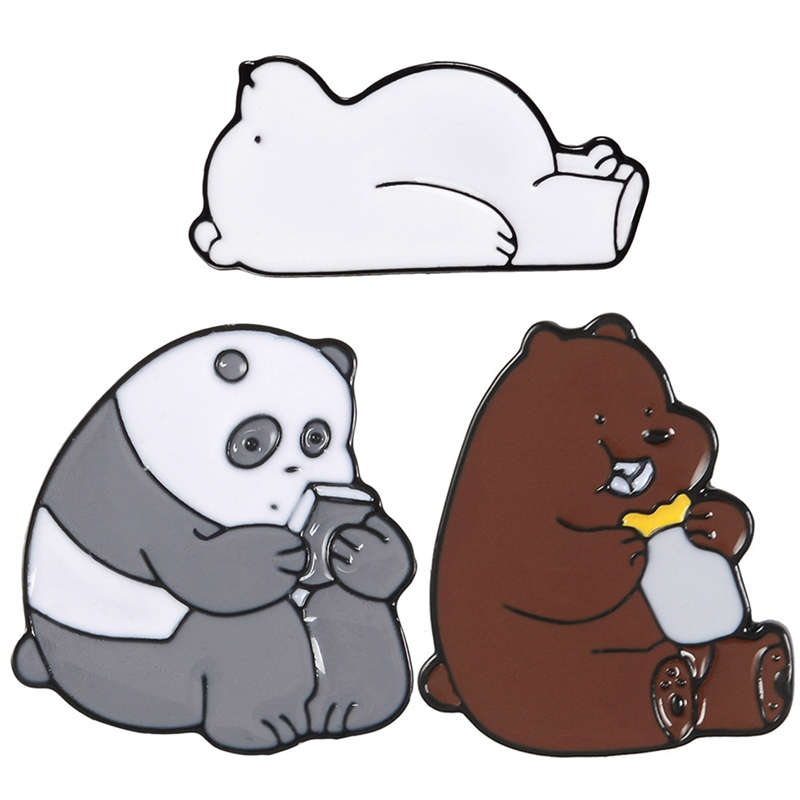 1 Piece Cute Cartoon Bear Panda Ice Bear Metal Enamel Pin Brooches For Women Decoration Clothes Hat Jewelry Available In Various Designs And Specifications For Your Selection