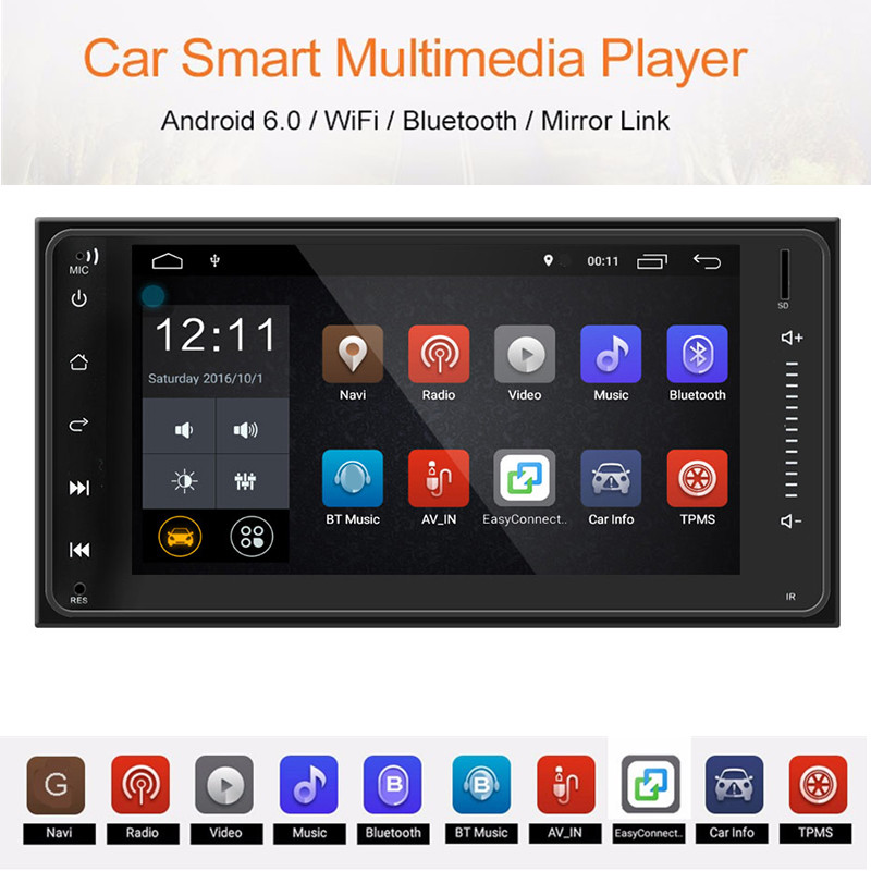 Universal 7.0 inch 2 Din Car Multimedia Player Bluetooth Built in GPS Navigator FM Station WiFi Connection for Toyota