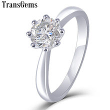 Transgems 14 K White Gold Solitaire Moissanite แหวนหมั้นผู้หญิงที่ไม่ซ้ำกันแปดเหลี่ยมตัด 1ct 6 มม. F สี Moissanite แหวน