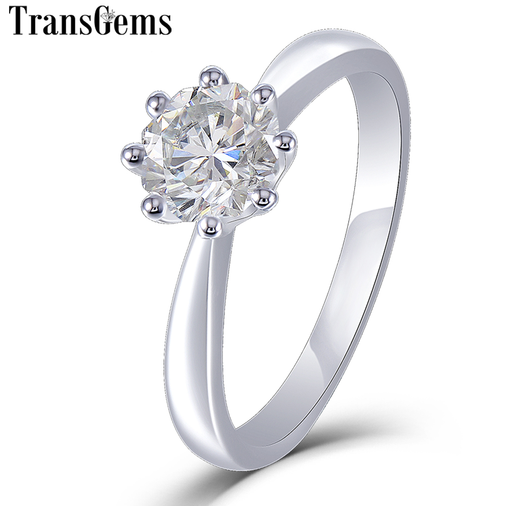Transgems 14K White Gold Solitaire Moissanite Engagement Ring for Women Unique Octagon Cutting 1ct 6mm F Color Moissanite Ring