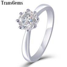 Transgems anillo de compromiso solitario de moisanita para mujer, oro blanco de 14K, corte octagonal único, 1Ct, 6mm, Color F, anillo de moissanita