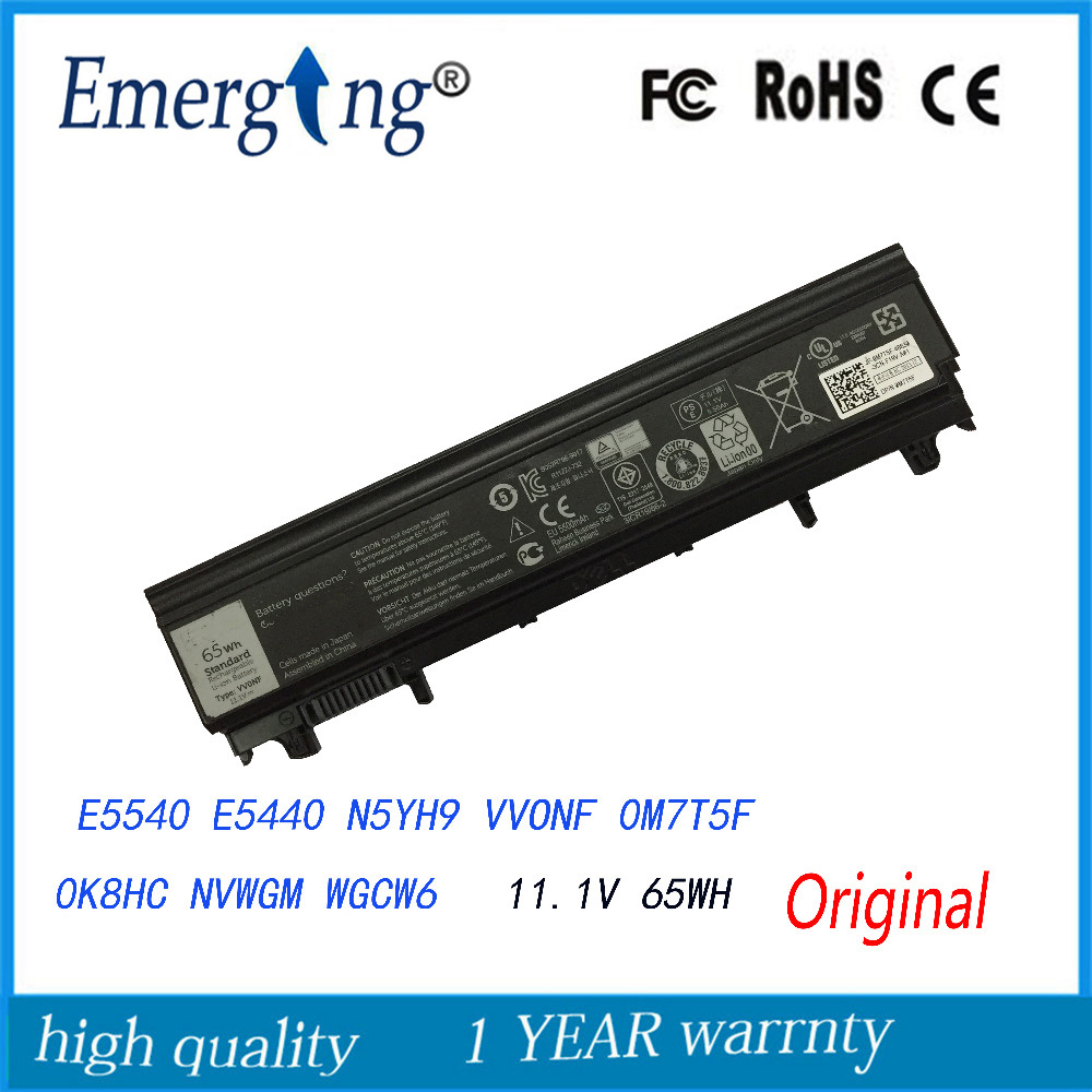 65Wh Original New Laptop Battery for Dell Latitude E5440 E5540 VVONF 451-BBIE 970V9 9TJ2J WGCW6