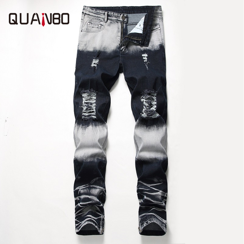 QUANBO   Jeans   2019 Spring New Arrival Fashion Ripped Hole Skinny Stretch   Jeans   Mens Zipper decoration Big Size Pleated   jeans