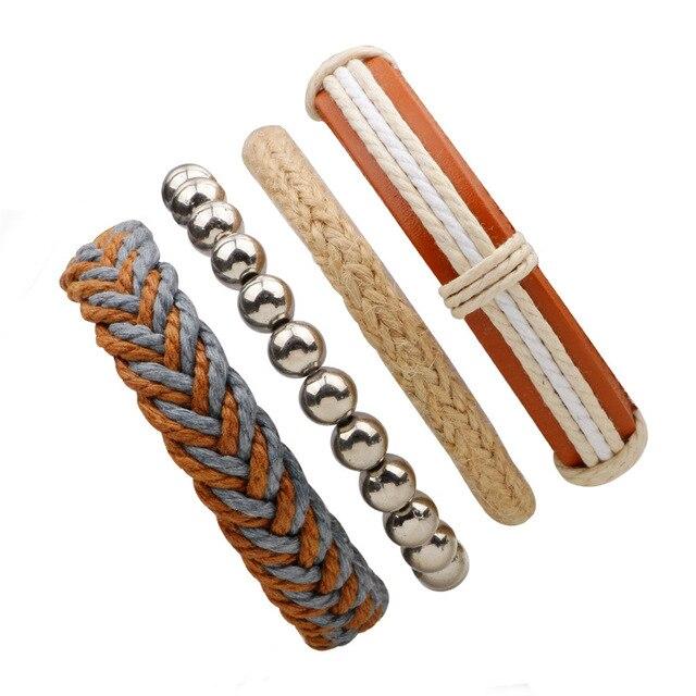 3,4,5pcs/set Series Boho Gypsy Hippie Punk Leather Wooden Beads Layers Bracelets 3