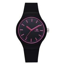 Женские однотонные наручные часы с силиконовым ремешком модные