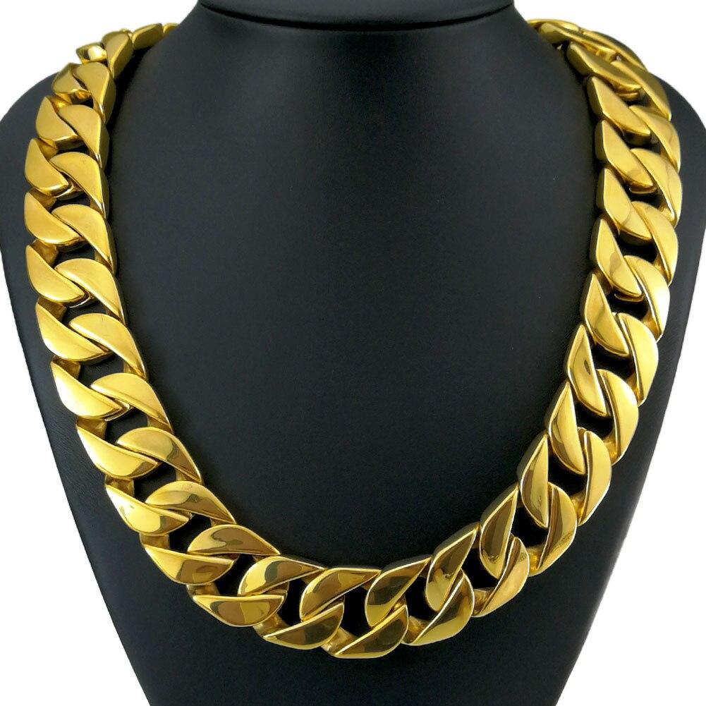 Top qualité ton or 316L acier inoxydable poli gourmette solide lourd longue chaîne collier bijoux 60-100cm N343 n380