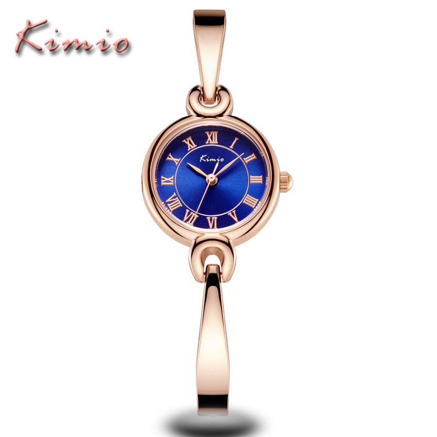 Prix pour KIMIO Marque De Luxe D'affaires Dames Or Rose Bracelet Montre-Bracelet Femmes Robe Horloge À Quartz En Acier Inoxydable Montre Relogio Feminino