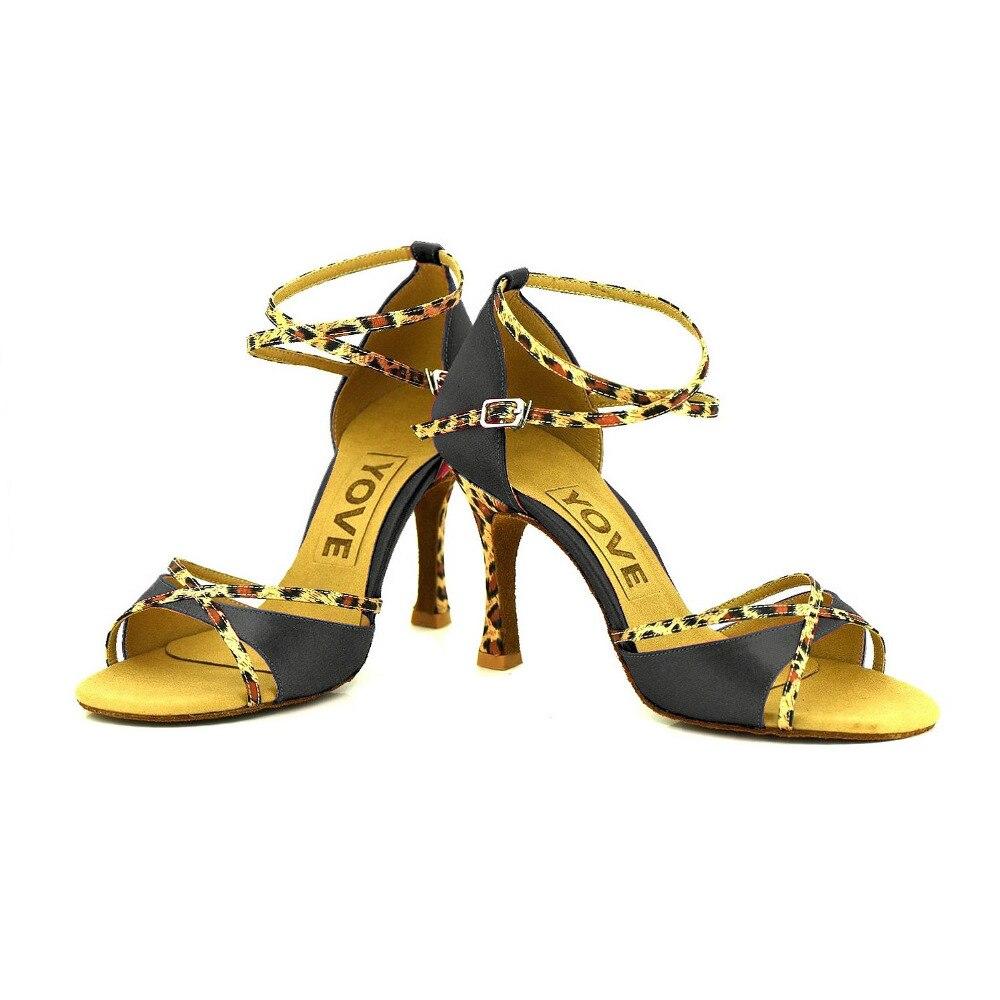 YOVE Dance font b Shoes b font Leopard Print Satin Buttons Stiletto font b Salsa b