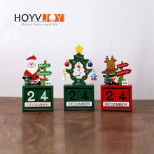 Christmas 24th Santa Claus Elk Wooden Calendar Wood Block Tree Festival Home Office Decoration HOYVJOY