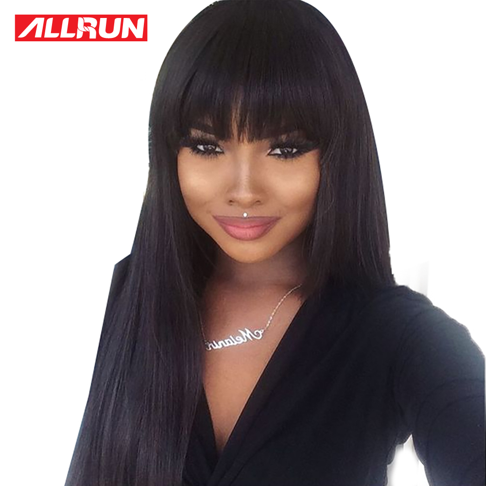 Allrun Short Human Hair Wig Malaysia Straight Hair Full-Machine Made Wig Glueless Adjustable Bangs Lace Non Remy Hair For Women