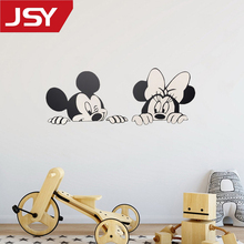 Jiangs Yu 1 PC Cartoon Wall Stickers Kids Bedroom Art Decor Cute Mickey Minnie Mouse Baby Nursery Vinyl Decals